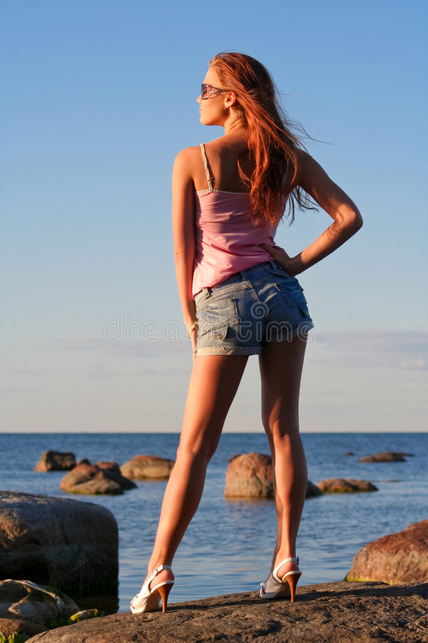Young girl from back stock photos