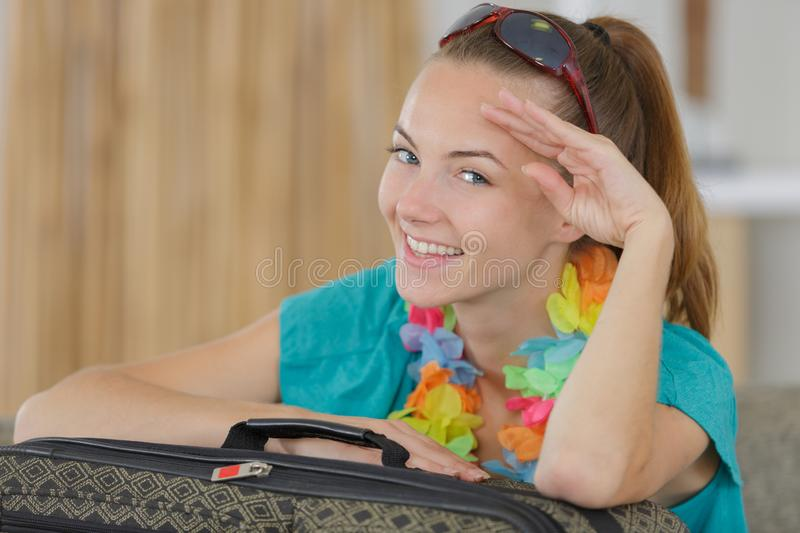 Young girl with backpack stock photos