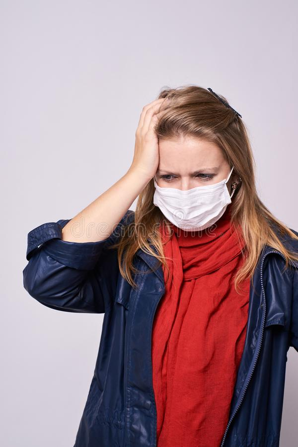 Young girl. Bad feeling. Protection against diseases royalty free stock photo