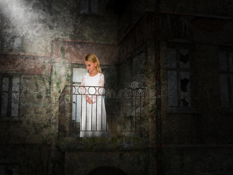 Young Girl, Balcony, Fantasy, Imagination. A young girl stands on a balcony of an old building. Surreal light provides an abstract concept for dream, fantasy royalty free stock photo