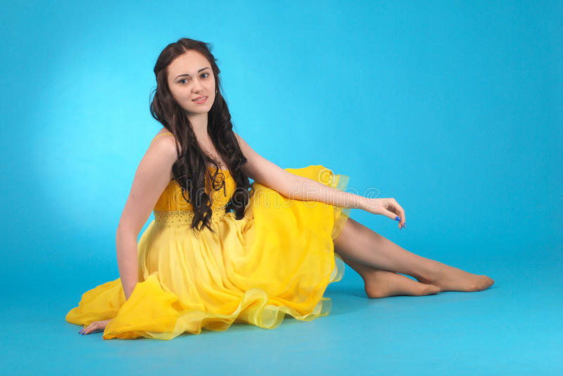 Young girl in ballroom dress stock images