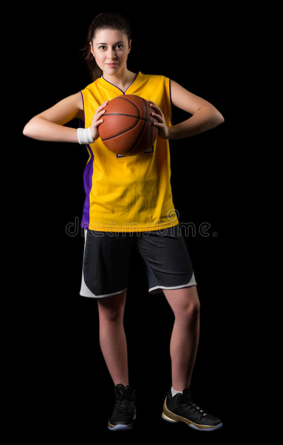 Young girl basketball player stock photos