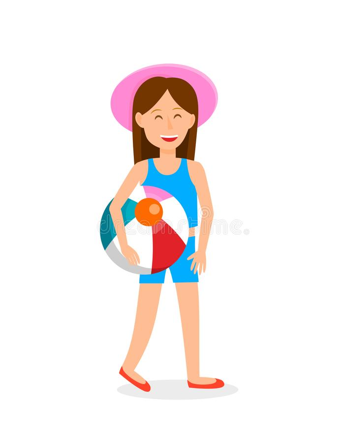 Young Girl with Beach Ball Vector Illustration. Cartoon Character in Swimsuit. Teenager in Pink Hat Flat Drawing. Resort, Vacation. Holidaymaker, Tourist royalty free illustration