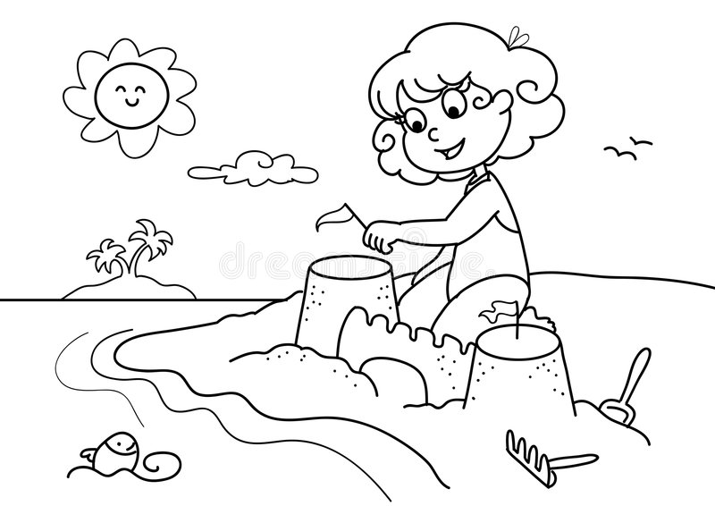 Download Young girl at the beach bw stock vector. Illustration of island - 5694960