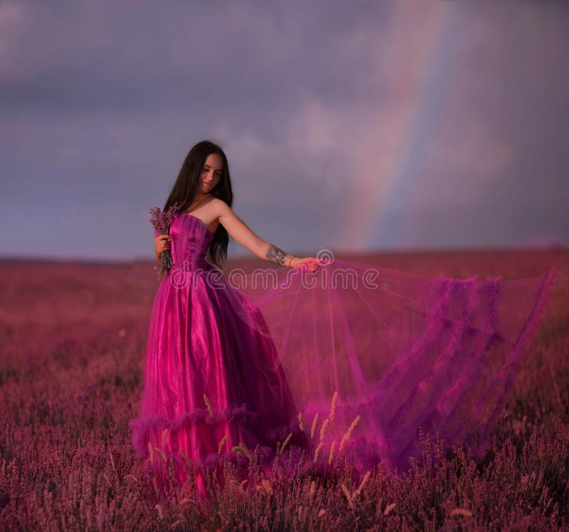Beautiful young girl walks in a field of lavender stock photography
