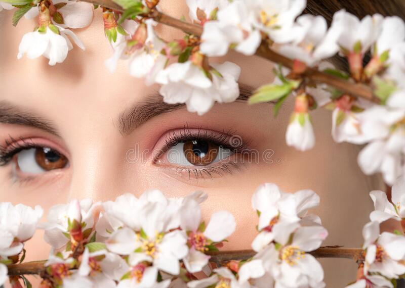 Young girl with beautiful nude make-up, thick eyebrows. Beautiful hazel eyes close up. Near her are beautiful blooming spring. Sakura flowers. Looking at the royalty free stock image