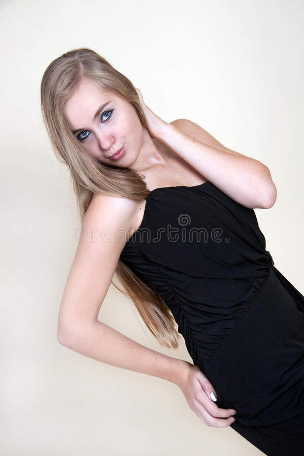 Young Girl With Black Dress Stock Image