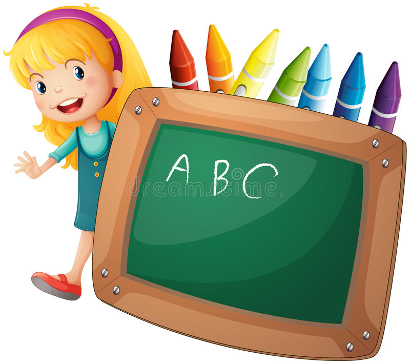 A young girl beside a blackboard and crayons royalty free illustration