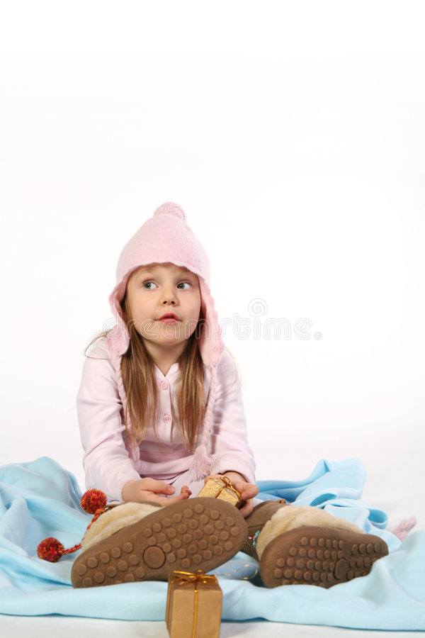 Download Young girl on a blanket stock image. Image of shoes, child - 3715749