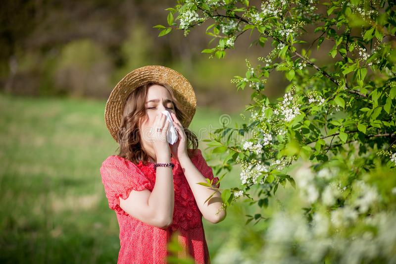 Young girl blowing nose and sneezing in tissue in front of blooming tree. Seasonal allergens affecting people. Beautiful lady has royalty free stock photography