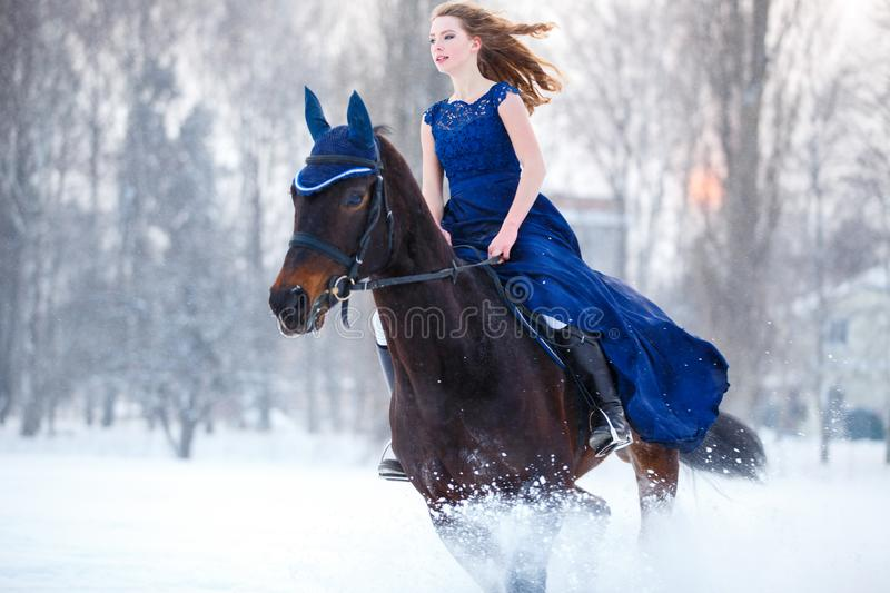 Young girl in dress riding horse on winter field royalty free stock photo