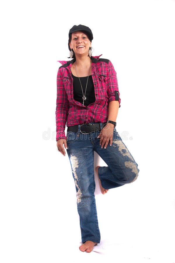 Young girl in blue Jeans stock photo