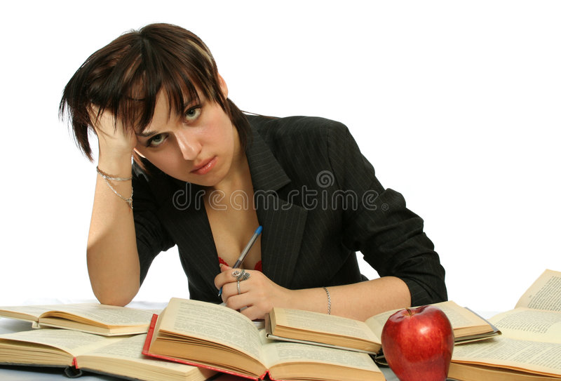 The young girl with books royalty free stock photos