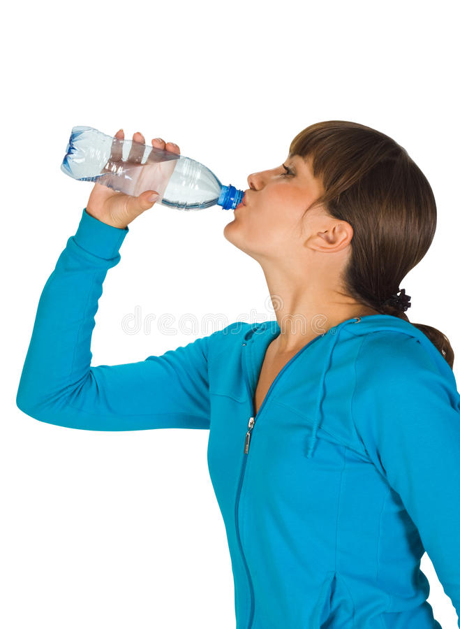 Young girl with bottle of water royalty free stock photo