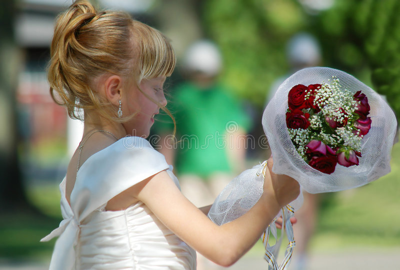 Download Young girl with bouquet stock image. Image of summer, married - 4039383