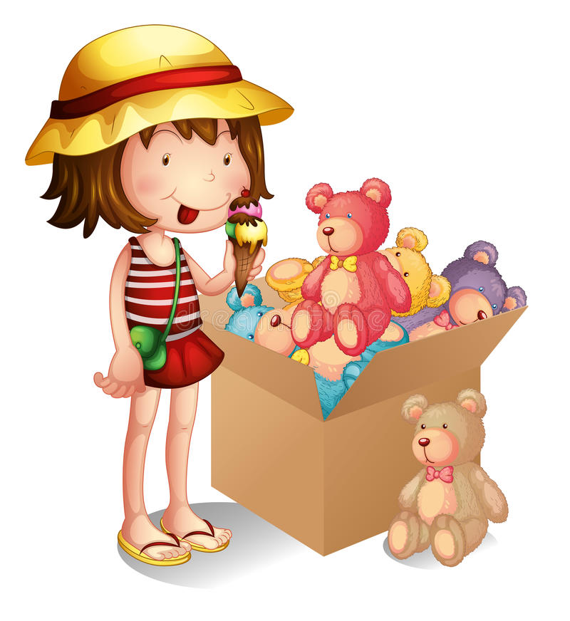A young girl beside a box of toys stock illustration