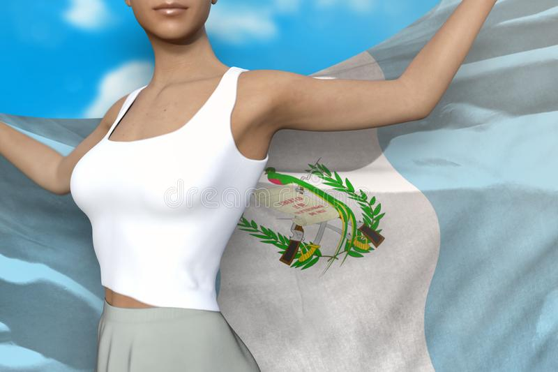 Pretty girl in bright skirt holds Guatemala flag in hands behind her back on the cloudy sky background - flag concept 3d. Young girl in bright skirt is holding vector illustration