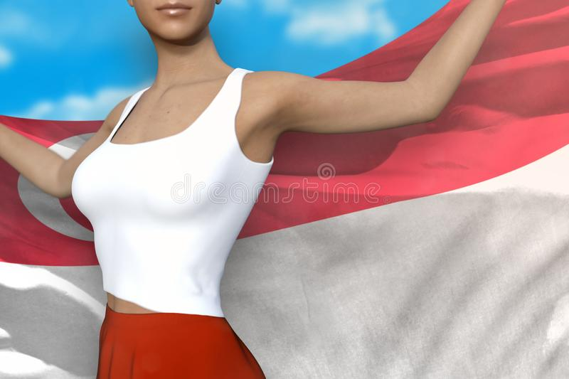 Girl in bright skirt holds Singapore flag in hands behind her back on the cloudy sky background - flag concept 3d. Young girl in bright skirt is holding stock illustration