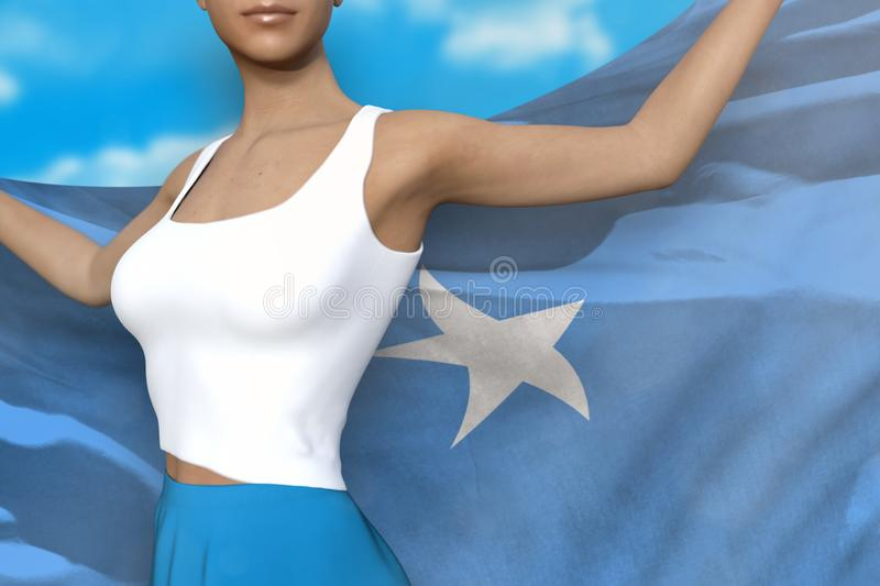 Woman in bright skirt holds Somalia flag in hands behind her back on the cloudy sky background - flag concept 3d illustration. Young girl in bright skirt is stock illustration