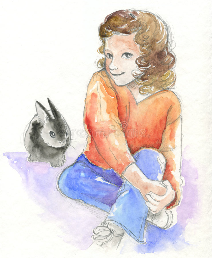 Young girl with bunny - watercolor