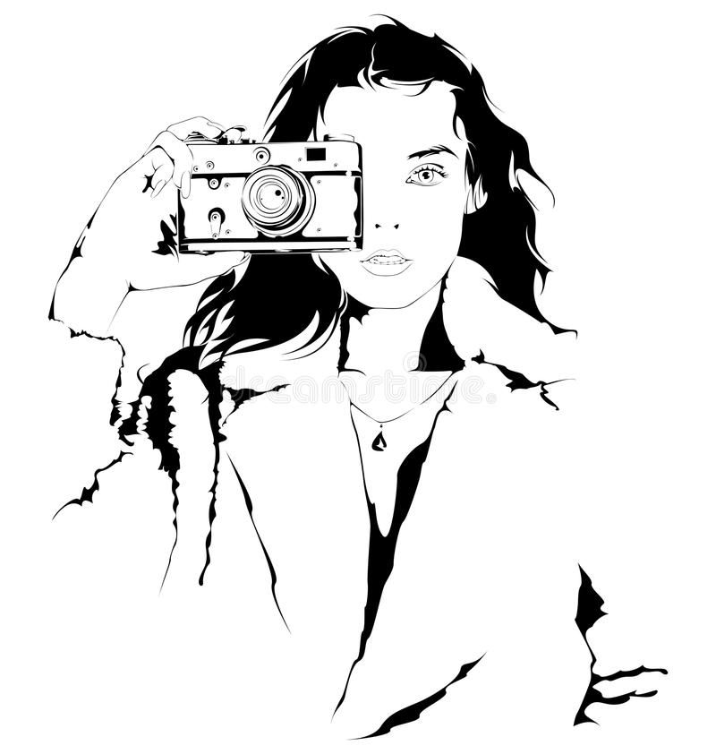 Young girl with a camera stock illustration