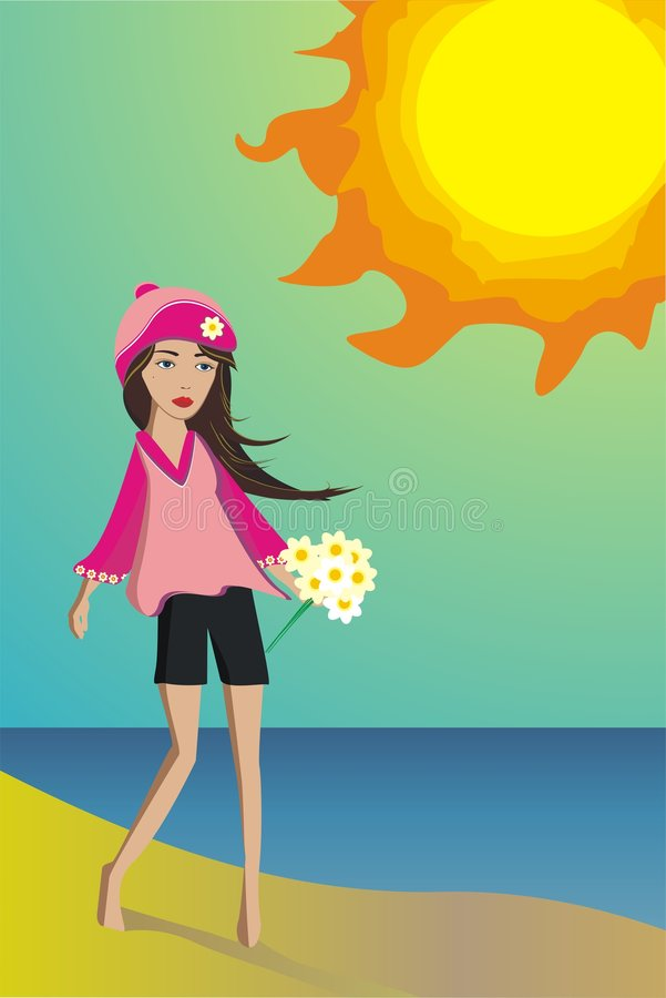 Download Young Girl With The Camomiles Under Hot Spring Sun Stock Vector - Illustration: 8150220