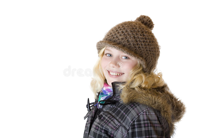 Download Young Girl With Cap, Scarf And Jacket Smiles Happy Stock Images - Image: 17769764