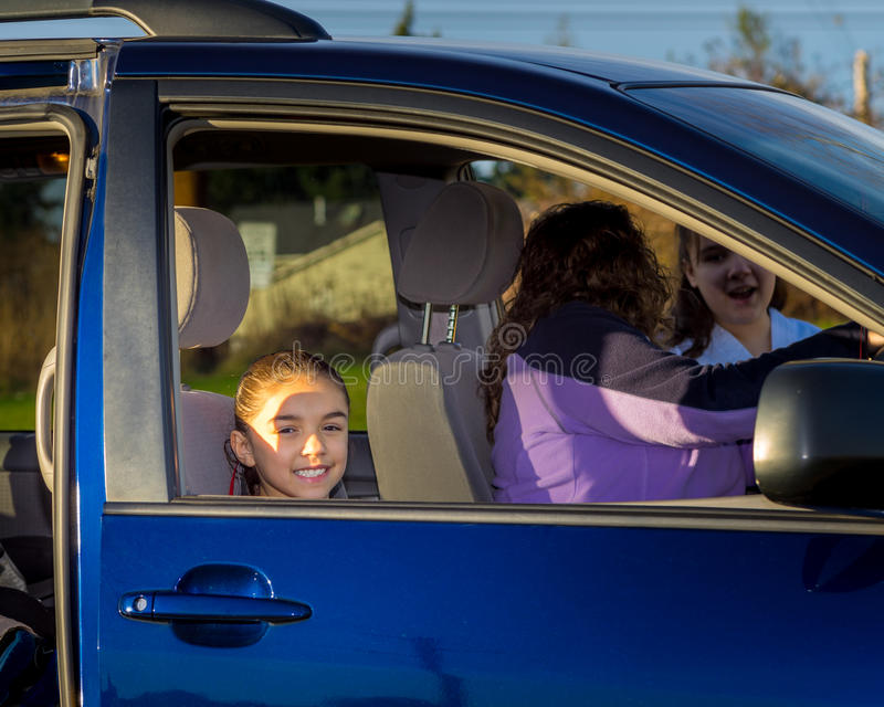 Young Girl In Car Passenger Seat stock images