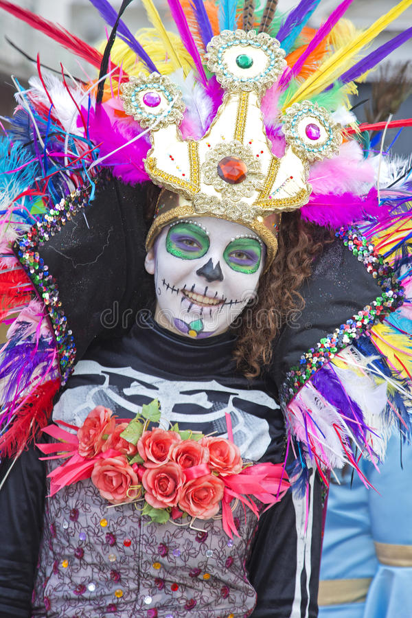 Young girl at Carnival parade. Palma Campania, Naples, Italy, February 10, 2016. A young lady dressed in an elaborate costume at carnival parade in Palma stock images