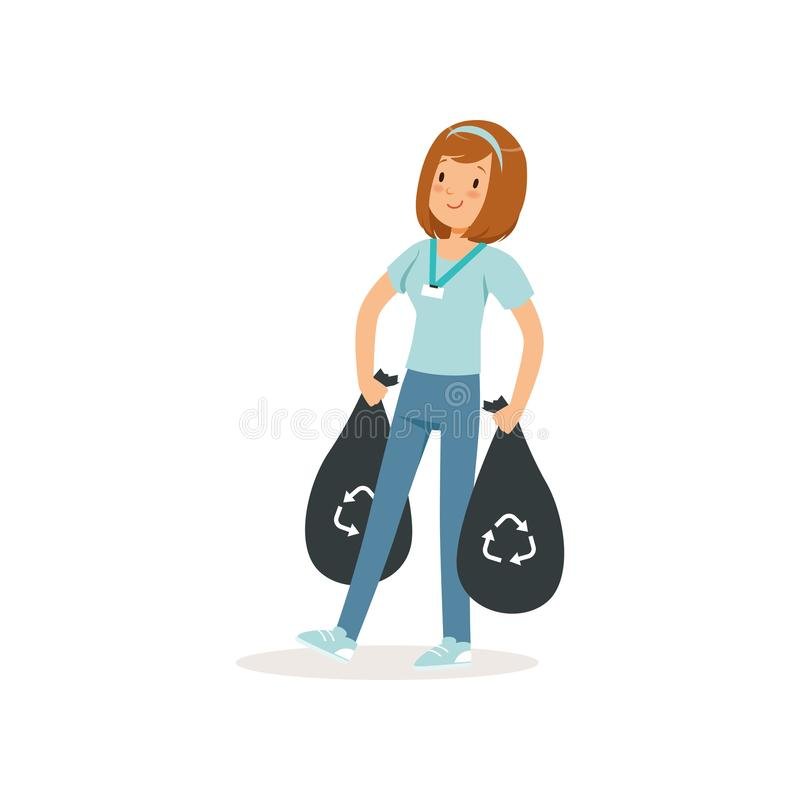 Young girl carrying two black bags with rubbish. Social activist. Waste recycling. Cartoon character of volunteer. Teen. In blue t-shirt and jeans. Colorful stock illustration