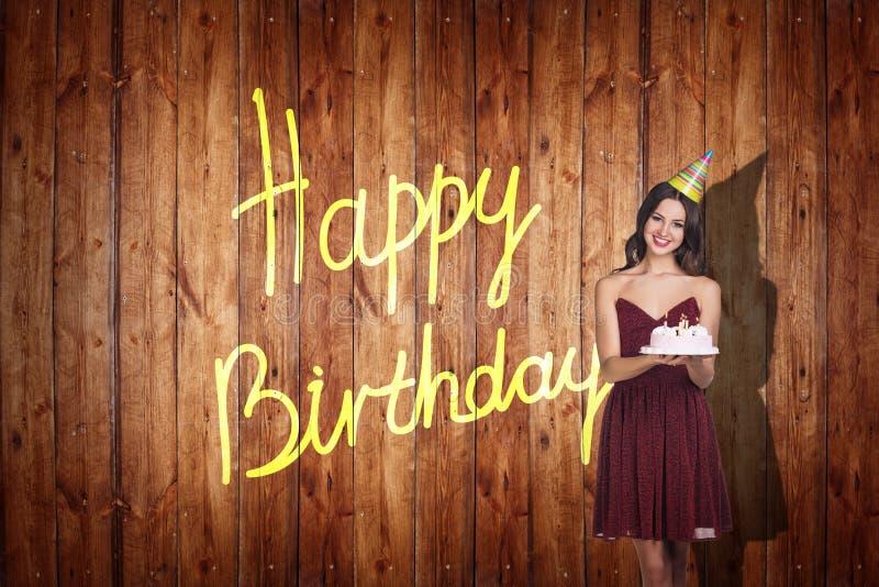 Young girl celebrate happy birthday. stock photos