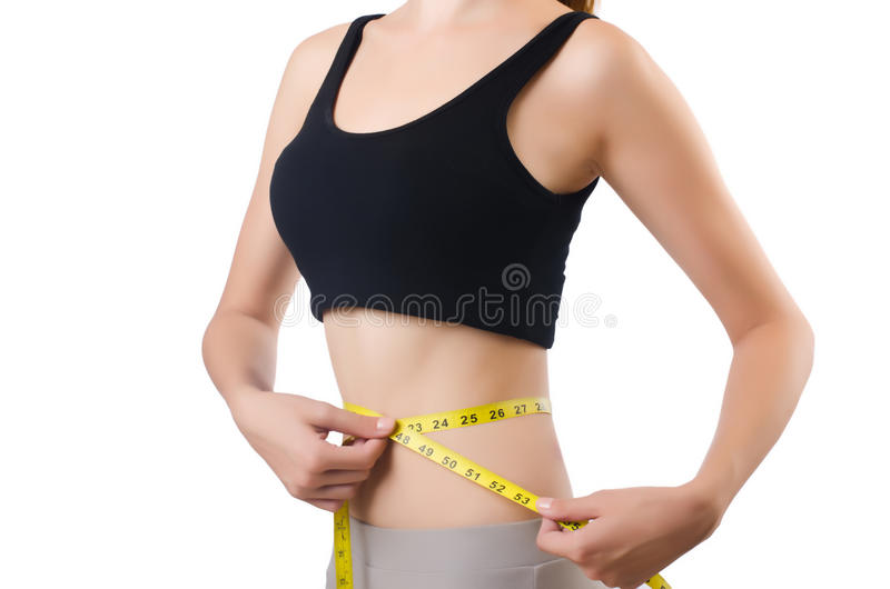 Download Young girl with centimeter stock photo. Image of measure - 33964936