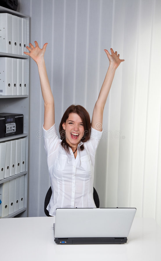 Young Girl Cheering On A Computer Stock Images