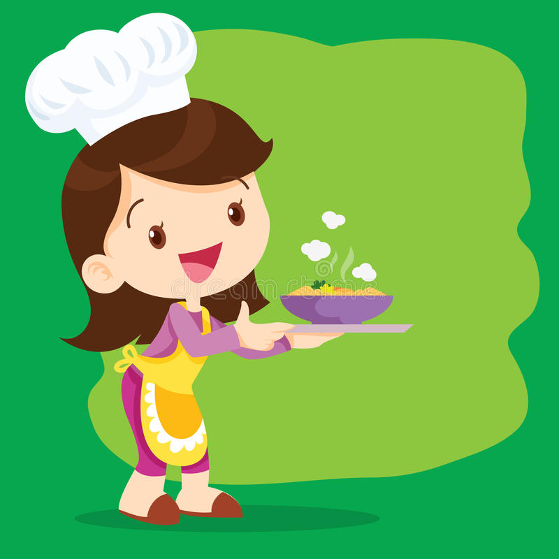 Young girl chefs cooking precent vector illustration