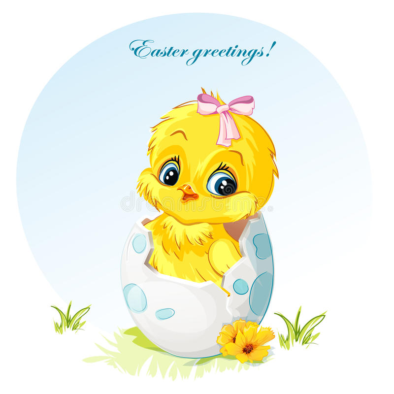 Download Young Girl Chick With Pink Bow Stock Vector - Image: 43260884