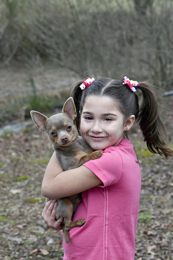Download Young girl with Chihuahua stock photo. Image of fashion - 13561968