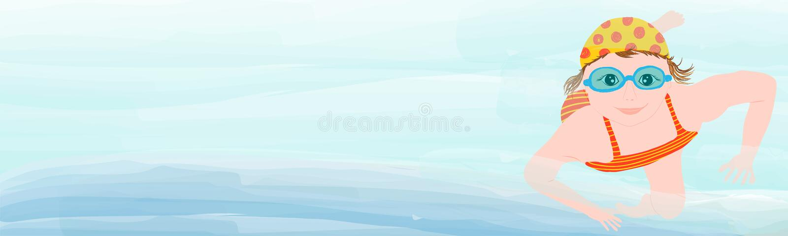Young girl, child swimming under water - vector hand drawn illustration vector illustration