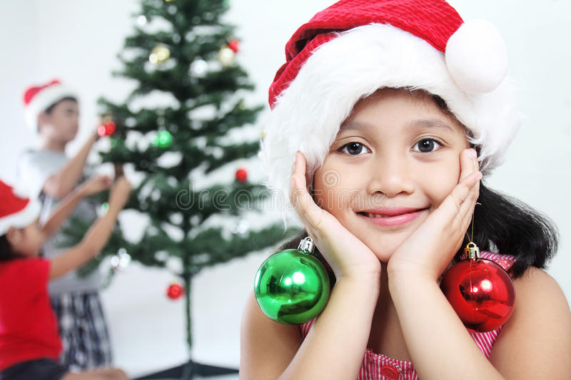 Download Young Girl At Christmas stock image. Image of celebration - 27701247