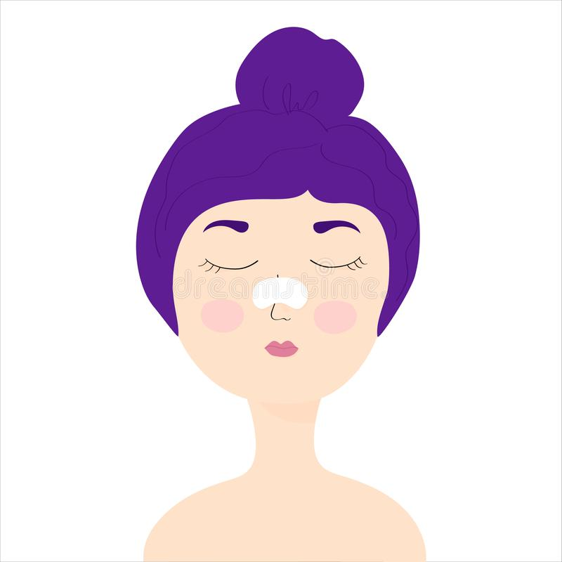 Young girl with a cleansing strip on the nose of black dots. Girl with eyes closed. home care, skincare, girl caring for her face. Vector Illustration royalty free illustration