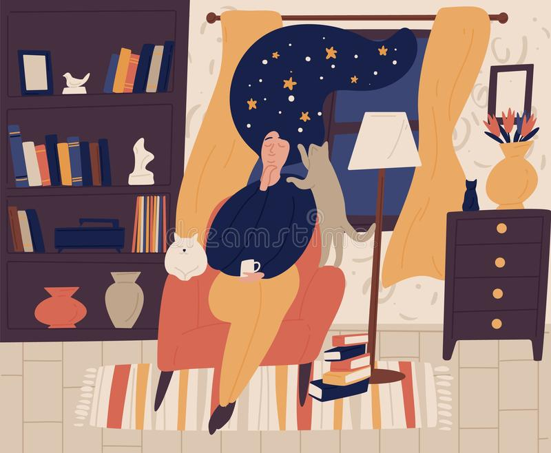 Young girl with closed eyes and night starry sky or space instead of hair sitting in chair and dreaming or daydreaming royalty free illustration