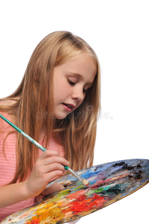Young Girl with colorful palette stock photography