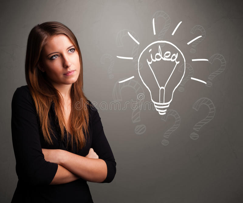 Download Young Girl Comming Up With A Light Bubl Idea Sign Royalty Free Stock Photography - Image: 30318767