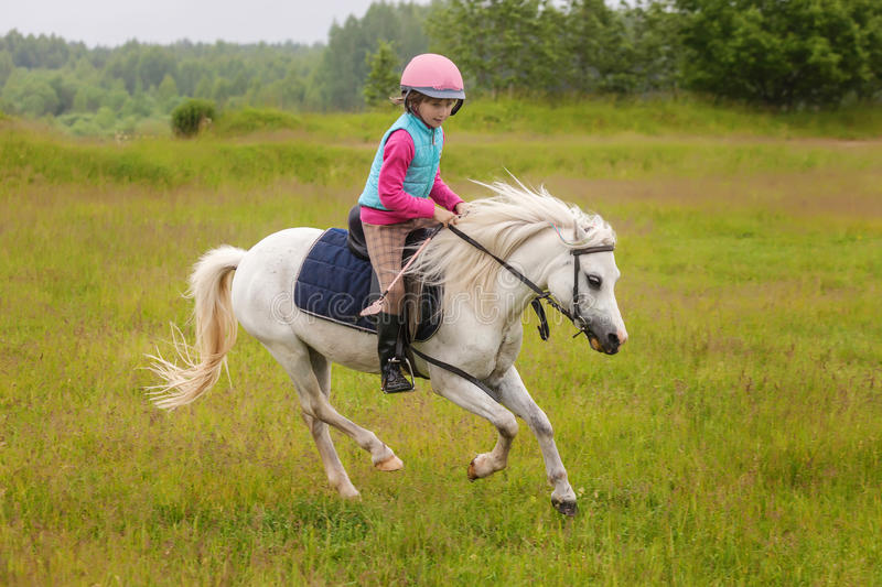 Young girl confident galloping horse on the field stock photos
