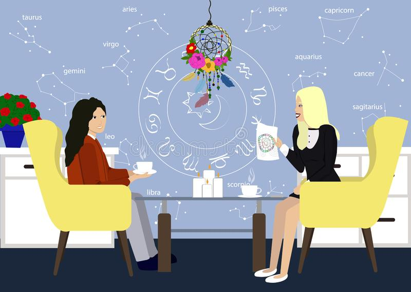 Young girl in consultation with an astrologer. Two girls talk in the astrologer office. Astrology style designed room royalty free illustration