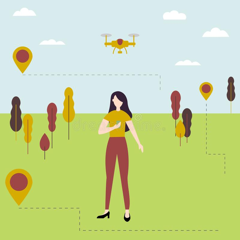 Young girl controls the drone outdoors. Dron. Quadrocopter in the sky royalty free illustration