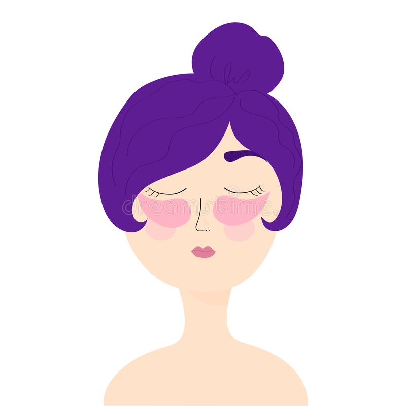 Young girl with cosmetic patches under the eyes. Skincare, girl caring for her face. Vector Illustration royalty free illustration