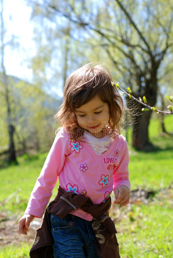 Young girl in countryside stock images