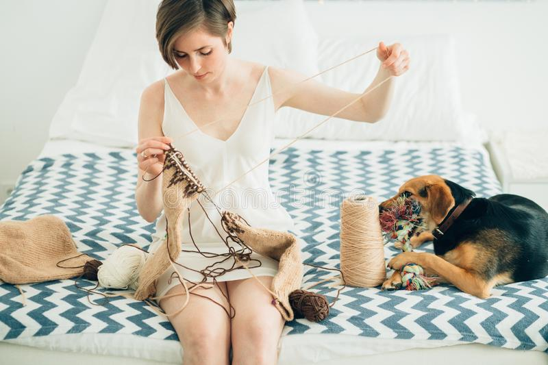 Young craftwoman in nightdress knitting sweater on bed. Cute cur dog besides. Home, freelance, handmade mood concept. Young girl craftwoman in nightdress stock photo