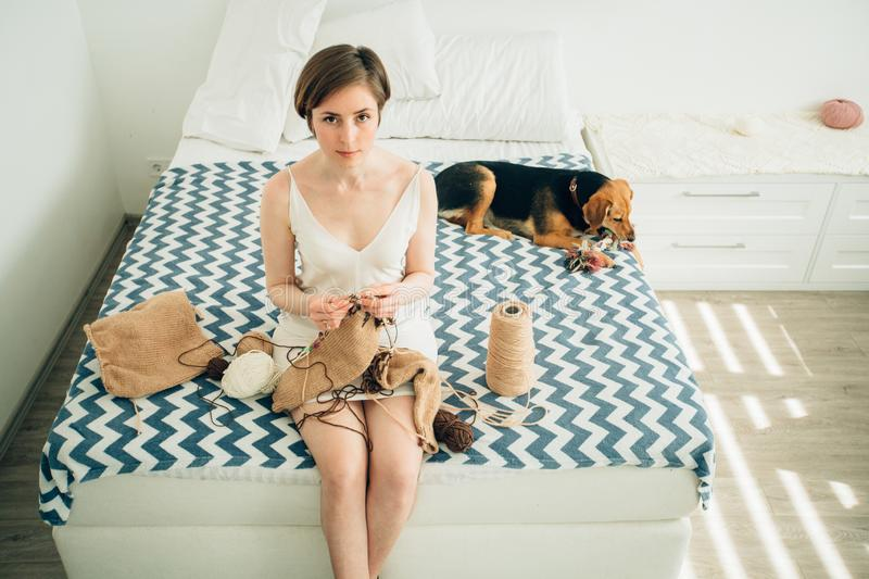 Young girl craftwoman in nightdress looking at camera while knitting sweater on bed. Cute cur dog besides. Home, freelance, stock photo