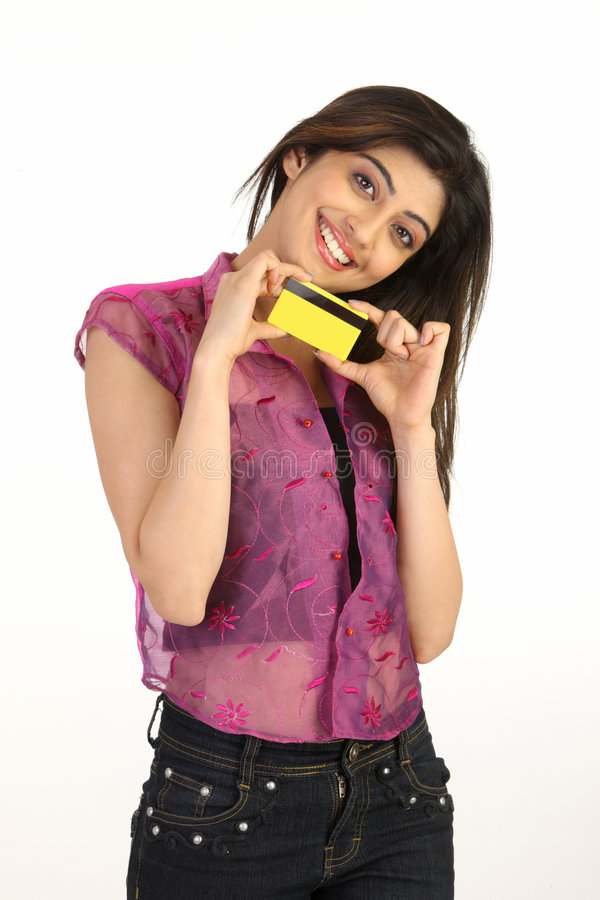 young girl with credit card stock images